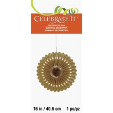 "Gold Tissue Paper Fan Decoration, 16"" Package"