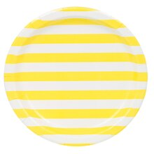"9"" Light Yellow Striped Party Plates, 8ct"