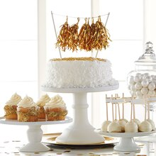 Double Layer Cake with Gold Tassel Banner, medium