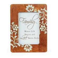 Lovely Floral Wood Frame, medium