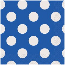 Royal Blue Polka Dot Luncheon Napkins, 16ct