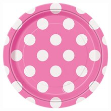 "7"" Hot Pink Polka Dot Party Plates, 8ct"