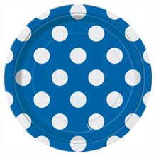 "7"" Royal Blue Polka Dot Party Plates, 8ct"