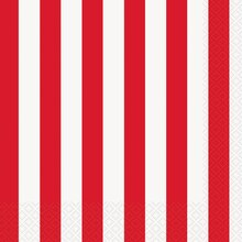 Red Striped Luncheon Napkins, 16ct