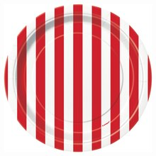 "7"" Red Striped Party Plates, 8ct"