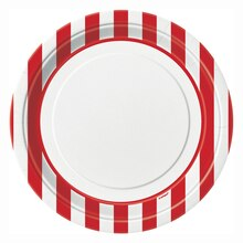"9"" Red Striped Party Plates, 8ct"