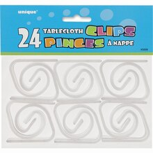 Clear Plastic Tablecloth Clips, 24ct Package