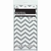 "Plastic Silver Chevron Tablecloth, 108"" x 54"" Package"