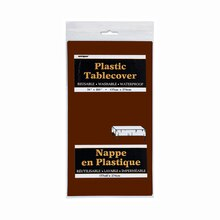 """Plastic Brown Tablecloth, 108"""" x 54"""" Package"""