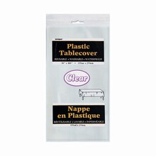 """Plastic Clear Tablecloth, 108"""" x 54"""" Package"""
