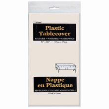 "Plastic Ivory Tablecloth, 108"" x 54"" Package"