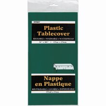 """Plastic Forest Green Tablecloth, 108"""" x 54"""" Package"""