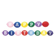 Latex Happy Birthday Linking Balloons, Assorted 14ct