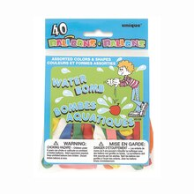 Assorted Shape and Color Water Balloons, 40ct