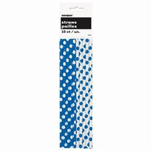 Royal Blue Polka Dot Paper Straws, 10ct