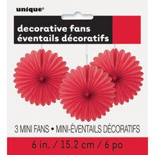 """6"""" Red Paper Fan Decorations, 3ct Package"""
