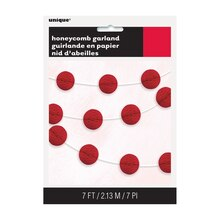 Red Honeycomb Ball Garland, 7 Ft. Package
