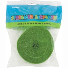 Crepe Paper Lime Green Streamers, 81 Ft. Packaged