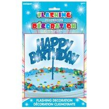 Flashing Blue Happy Birthday Cake Topper Decoration Package