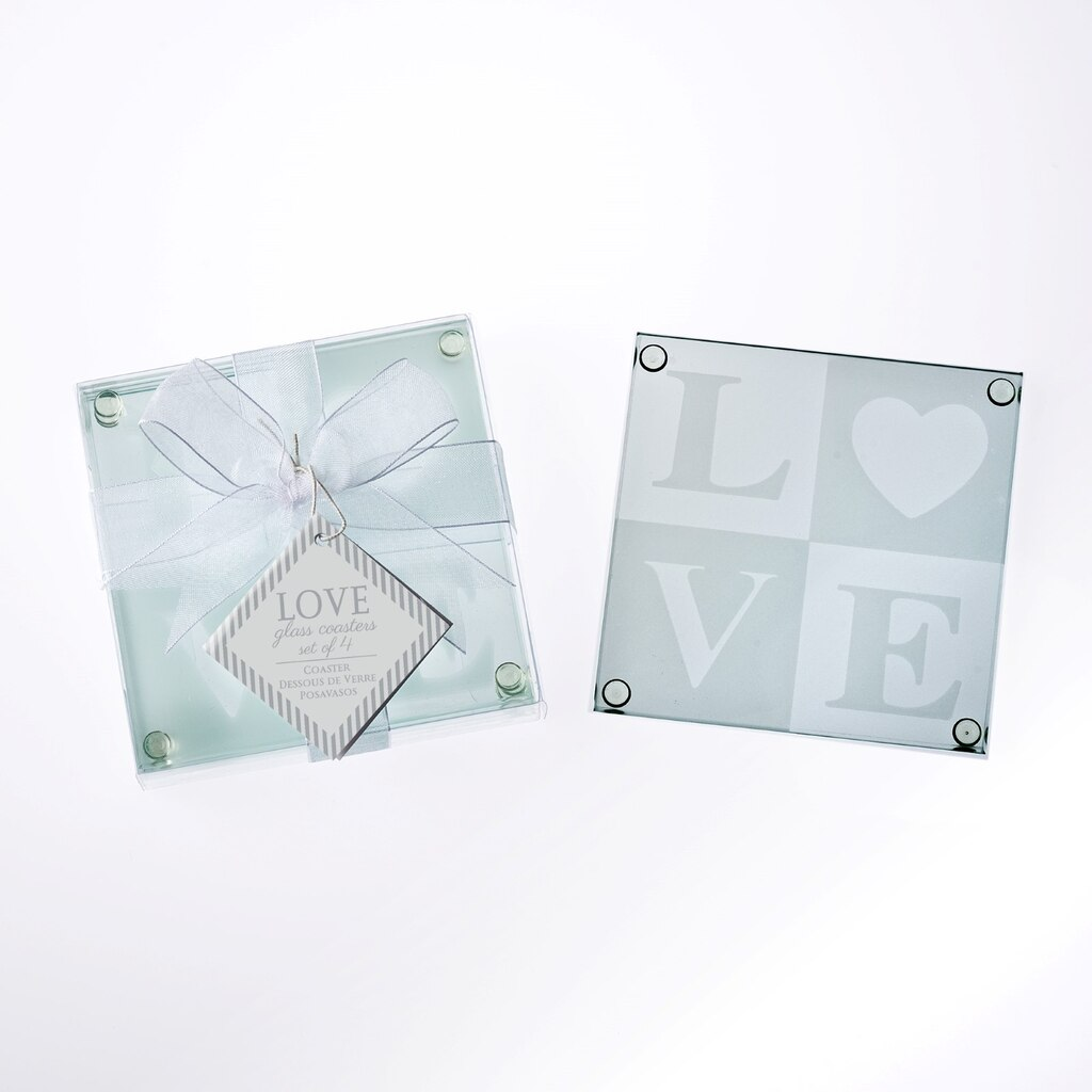 Kate Aspen® LOVE Glass Coaster Gift Set with Ribbon and Thank You ...