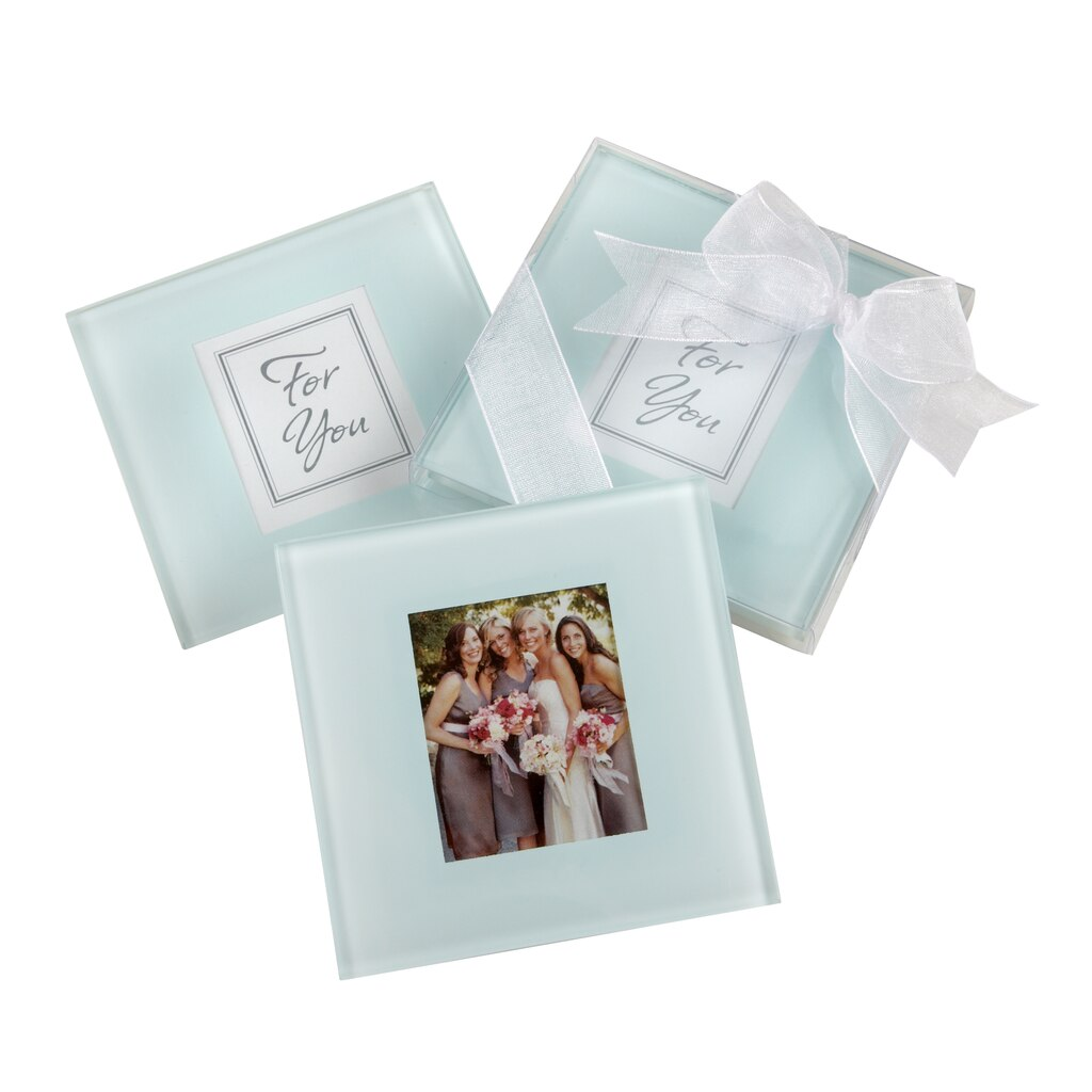Kate Aspen® Forever Photo Frosted Glass Coasters, Set of 12