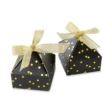 Kate Aspen Black With Gold Foil Dot Pyramid Shaped Favor Box, 24 Pack