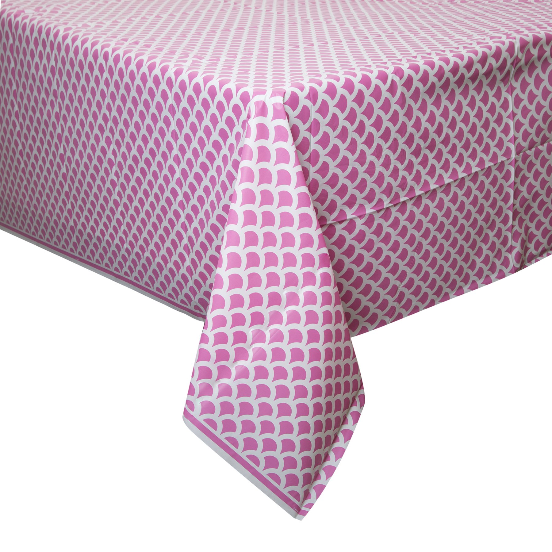 Hot Pink Scallop Print Plastic Tablecloth Hot Pink Party Decorations