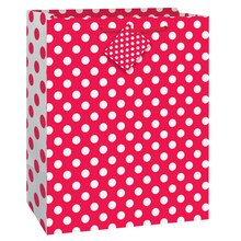 "Red Polka Dot Gift Bag, 13"" x 10.5"""