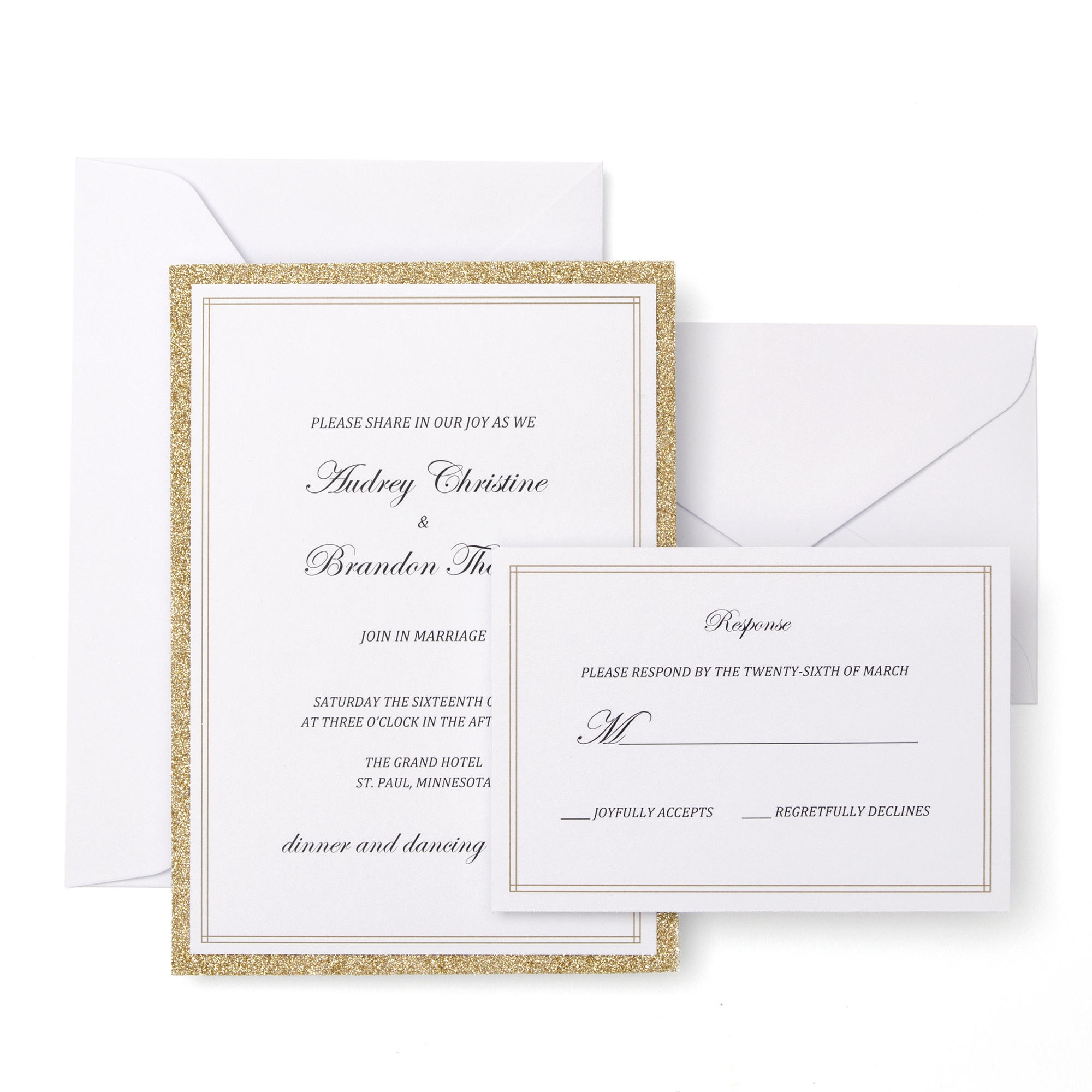 Gartner Studios Gold Glitter Invitation Kit