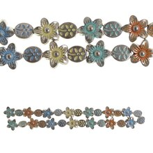 Bead Gallery Silver Plated Mixed Flower Beads, Multicolor Close Up