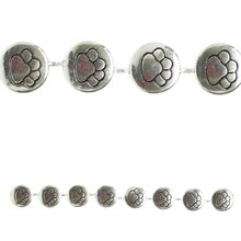 Bead Gallery Silver Plated Paw Beads Close Up