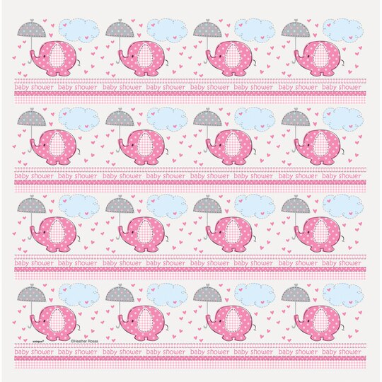 Pink Elephant Baby Shower Gift Wrapping Roll Girl Baby Shower Supplies