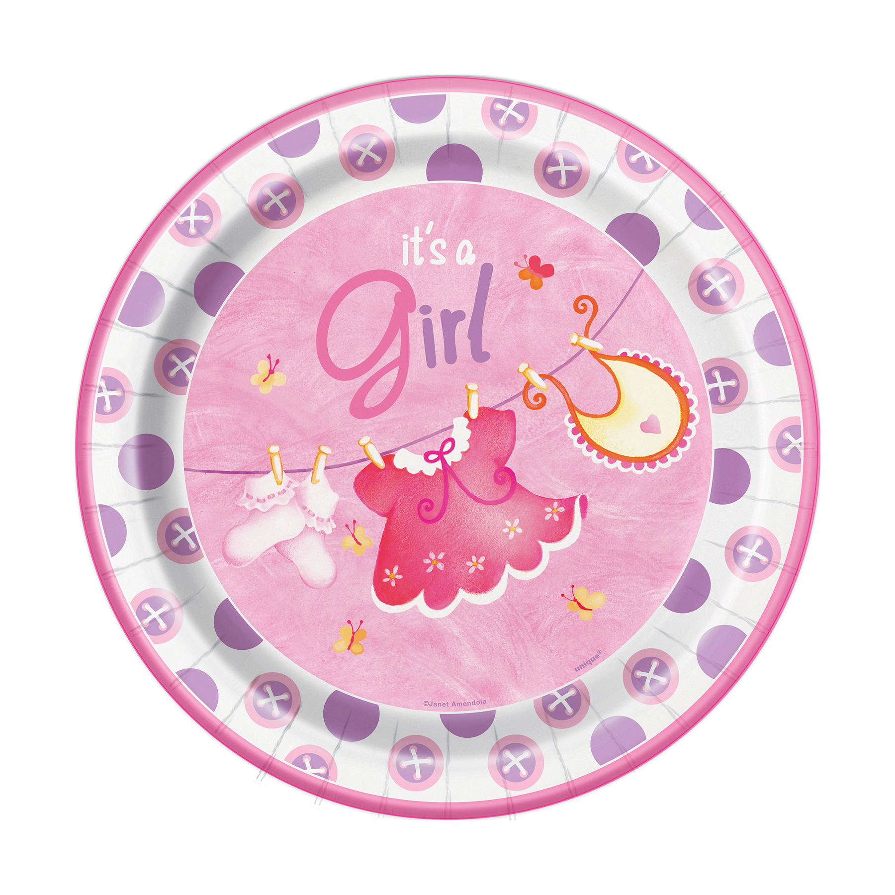 9\  Pink Clothesline Baby Shower Plates ...  sc 1 st  Michaels Stores & 9\