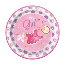 "9"" Pink Clothesline Baby Shower Plates, 8ct"