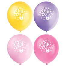 "12"" Latex Pink Clothesline Baby Shower Balloons, 8ct"