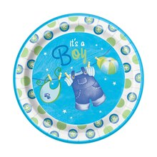 "9"" Blue Clothesline Baby Shower Plates, 8ct"