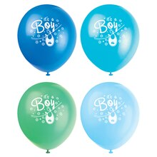 "12"" Latex Blue Clothesline Baby Shower Balloons, 8ct"
