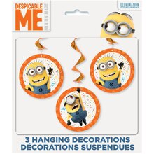 Hanging Despicable Me Minions Decorations, 3ct Pack