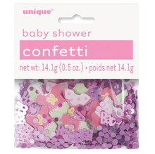 Pink Polka Dot Girl Baby Shower Confetti
