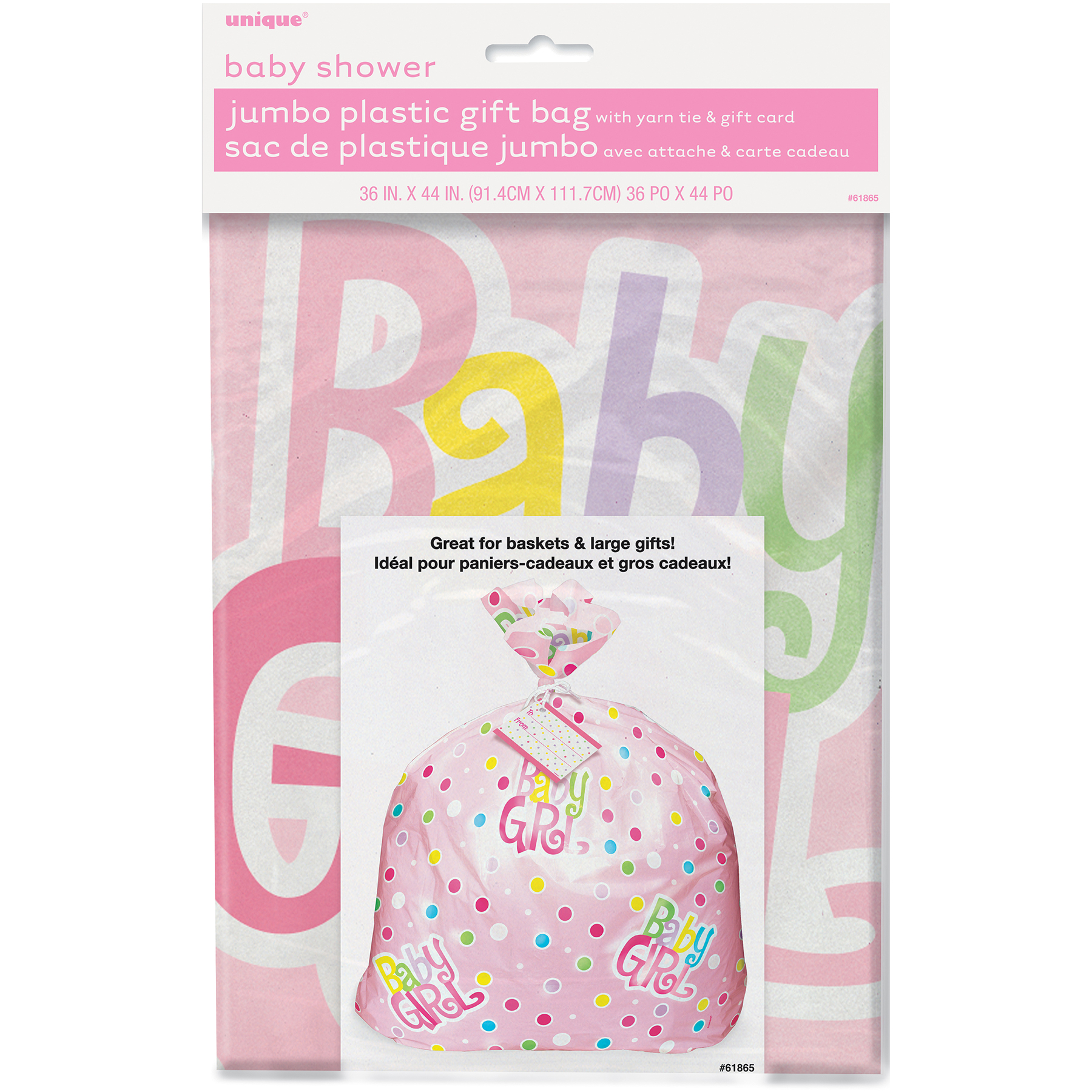 Jumbo Plastic Pink Polka Dot Girl Baby Shower Gift Bag Packaged