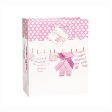 Pink Bow Clothesline Girl Baby Shower Gift Bag