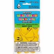 """12"""" Latex Yellow Happy Face Balloons, 6ct Package"""