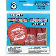 """12"""" Latex Red Cake Happy Birthday Balloons, 8ct Package"""