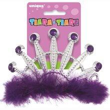 Plastic Purple Feather Tiara Pack