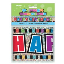 Prismatic Foil Happy Birthday Banner, 9 Ft. Packaged