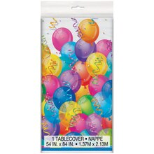 "Plastic Brilliant Balloons Tablecloth, 84"" x 54"""