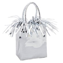 Gift Bag Shaped Silver Balloon Weight