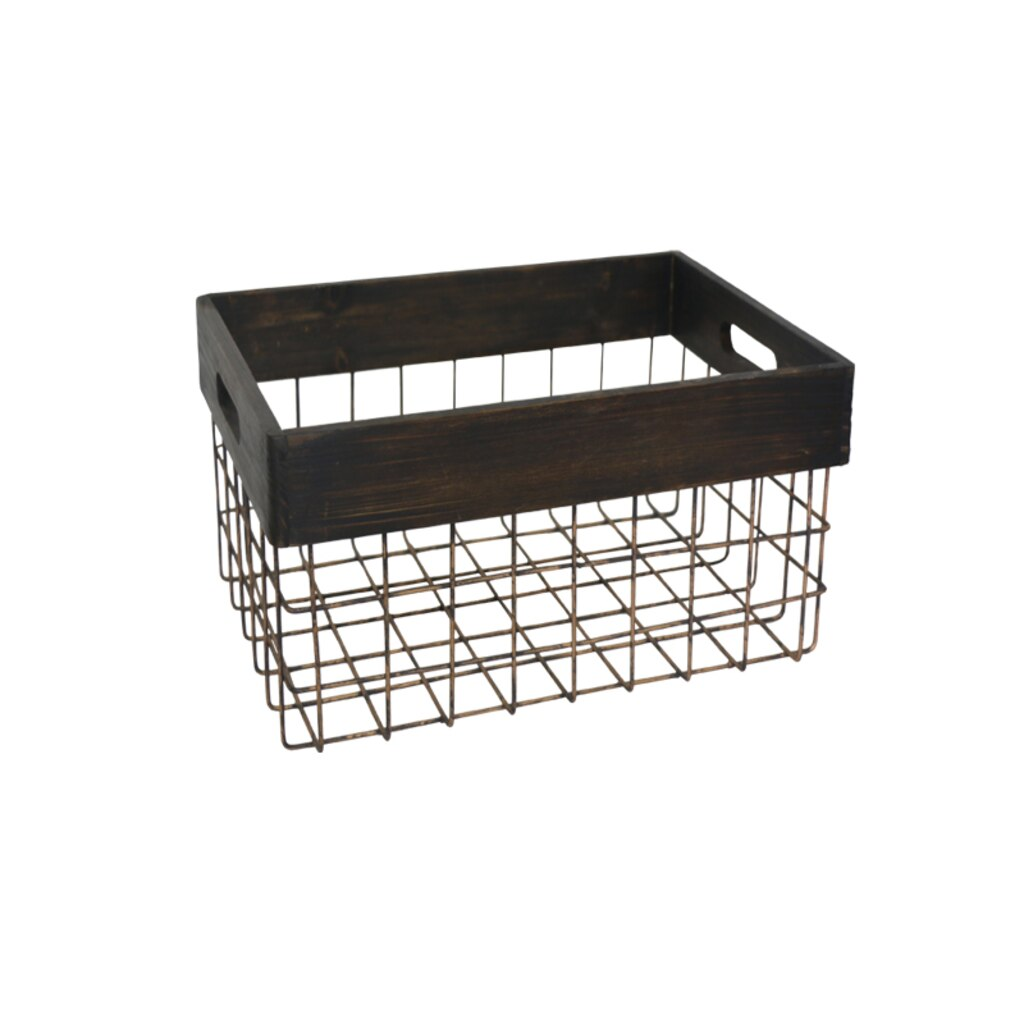 Shop for the Small Wire Basket with Wooden Rim By Ashland® at Michaels