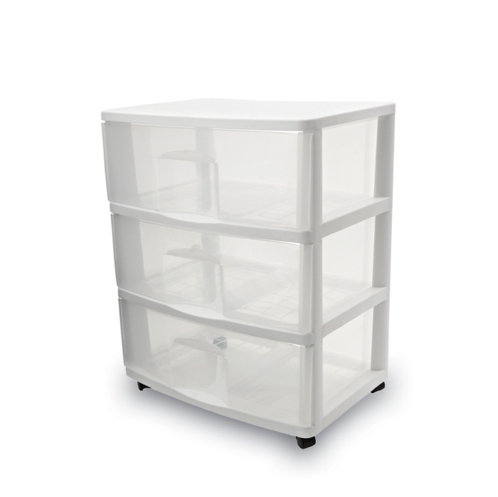 Homz Large Three Drawer Cart, White