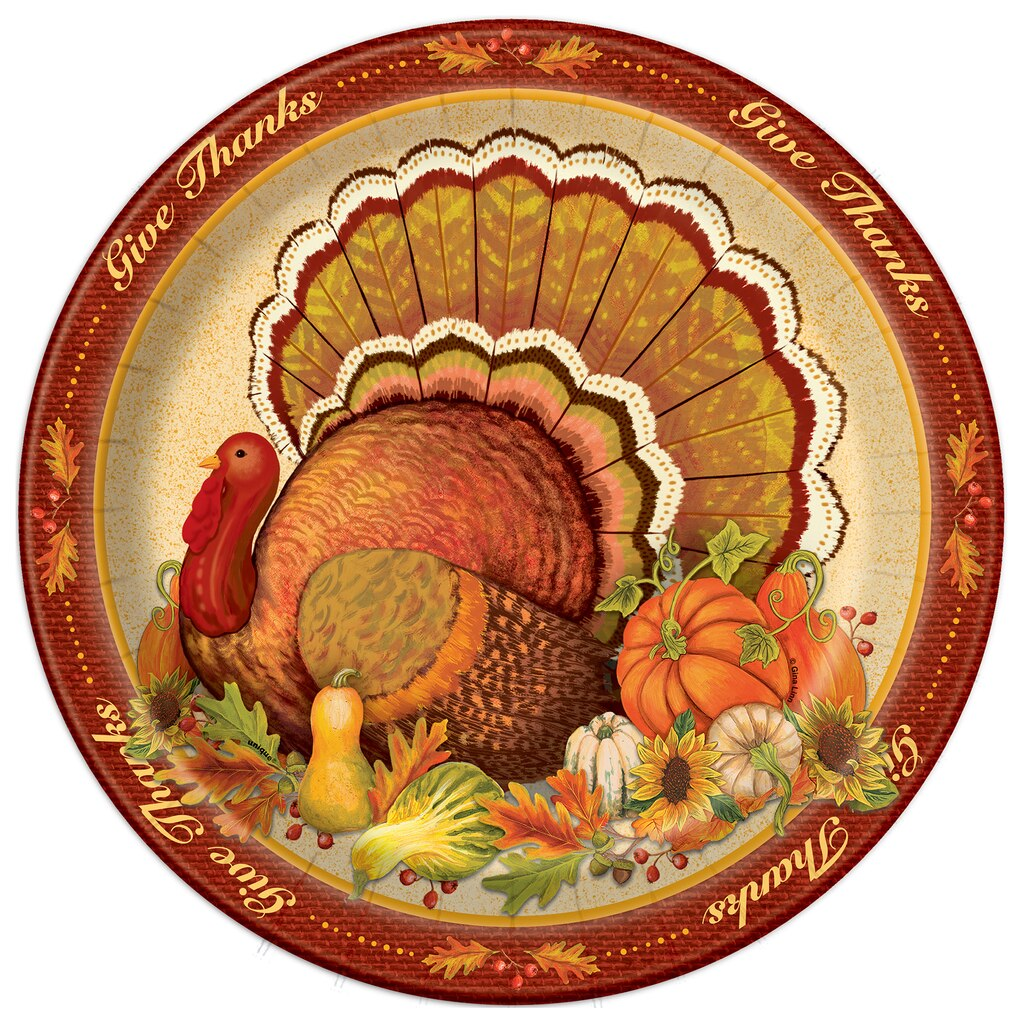 give thanks thanksgiving dinner plates thanksgiving supplies. Black Bedroom Furniture Sets. Home Design Ideas